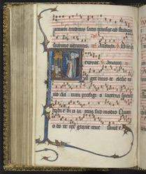 Antiphonal; Illuminated letter showing pilgrims & clergy at Shrine of St Thomas